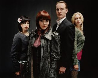 Hex (TV series) - Main characters Thelma, Ella, Azazeal and Cassie as portrayed by Jemima Rooper, Laura Pyper, Michael Fassbender and Christina Cole.