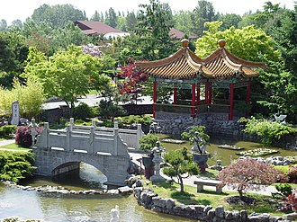 International Buddhist Temple - A corner of the Chinese garden at the International Buddhist Temple