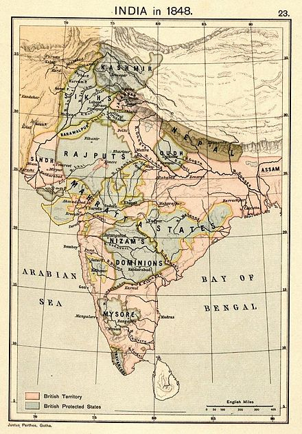 Map of India in 1848 Joppen1907India1848a.jpg
