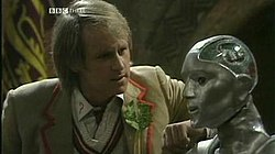 The Fifth Doctor and Kamelion in episode King Demons