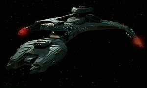 Klingon starships - Rick Sternbach's design of the Vor'cha-class attack cruiser was meant to illustrate the alliance between the Klingons and Federation, with engines reminiscent of Starfleet ships.