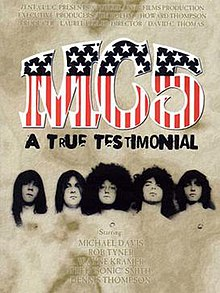 The characters MC5 in red, white and blue; below them, the faces of five men