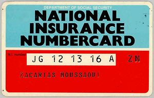 The National Insurance number card issued by t...