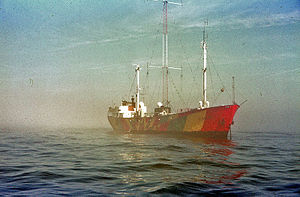 Radio North Sea International - Mebo II at anchor in 1972