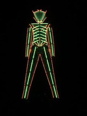 Burning Man - The neon-tubed Man at the 1999 event