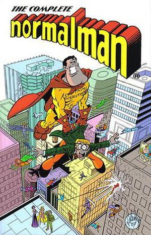 Normalman - Cover to the Complete normalman trade paperback, with Captain Everything carrying normalman. Art by Jim Valentino.
