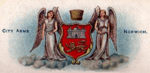 Norwich City Council - The city arms with unofficial angel supporters from a 1903 cigarette card