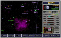 The main screen showing star names (color-code...