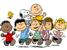 The characters from Peanuts holding aloft Charlie Brown and Snoopy