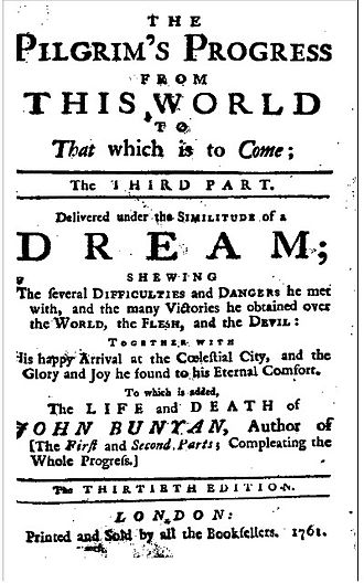 The Third Part of the Pilgrim's Progress - 1761 title page