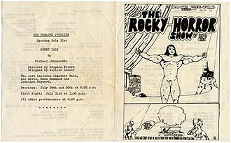 The Rocky Horror Show - Original programme of the musical from the Theatre Upstairs