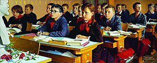 <i>Russian Schoolroom</i> painting by Norman Rockwell