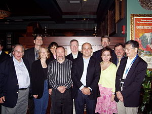 The Society for Basic Urologic Research - A Reunion of SBUR Presidents, Atlanta, May 2006. From Left to Right: Donald Coffey (1988-89), Michael Freeman (2002-03), Diane Felsen (2003-04), Shuk-mei Ho (2005-06), Ralph Buttyan (2000-01), Donald Tindall (1992-93), Robert Getzenberg (2006-07), Natasha Kyprianou (2004-05), James Mohler (2007-08), Timothy Ratliff (1987-88), Chung Lee (1994-95).