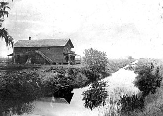 Hamilton Disston - A photograph taken circa 1900 showing a canal dredged by Disston's company, running through a sugar plantation also owned by Disston near St. Cloud, Florida