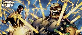 Mongul - Image: Sinestro Defeats Mongul