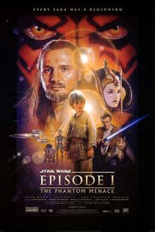 "Illustration depicting various characters of the film, surrounded by a frame which reads at the top ""Every saga has a beginning"". In the background, there is a close-up of a face with yellow eyes and red and black tattoos. Below the eyes are a bearded man with long hair, a young woman with facepaint and an intricate hat, three spaceships, a short and cylindrical robot besides a humanoid one, a boy wearing gray clothes, a young man wearing a brown robe holding a laser sword, and an alien creature with long ears. At the bottom of the image is the title ""Star Wars Episode I: The Phantom Menace"" and the credits."