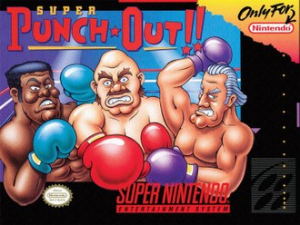Super Punch-Out!! - North American cover art depicting (from left to right) Mr. Sandman, Bald Bull and Super Macho Man, the three initial champions in the game.