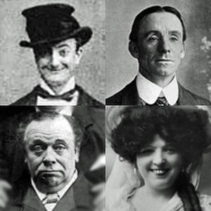 Ada Blanche - Blanche's pantomime co-stars included (clockwise from top left) Little Tich, Dan Leno, Marie Lloyd and Herbert Campbell