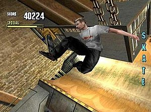 "Tony Hawk's (series) - Tony Hawk completing the Collect ""SKATE"" Goal in Tony Hawk's Pro Skater."