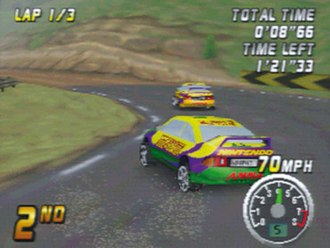 The player, in second position, drifts through a road curve while trying to overtake an opponent. Top Gear Rally N64 Gameplay.jpg