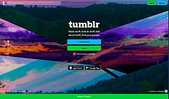 Tumblr - Image: Tumblr Homepage