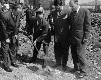 Lazarus Joseph - Lazarus Joseph (center right), city comptroller looks on as Benjamin Cohen, acting secretary-general, removes the first symbolic scoop of earth from the future UN site. Others pictured are William O'Dwyer (left), mayor of the City of New York; and John J. Bennett (right), deputy mayor. New York, September 14, 1948. (UN Photo/DPI)