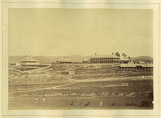 Victoria Barracks, Brisbane - Early picture of Victoria Barracks in 1868, taken from Roma Street
