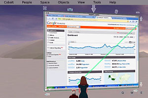 Open Cobalt - Two users' avatars accessing a single VNC session within a secure and collaborative Open Cobalt space. Integration of VNC with Open Cobalt makes it possible for users to collaboratively access the desktops and applications running on remote machines anywhere on the network.