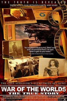Poster of dossier, showing Martian war machine, characters and events from the film