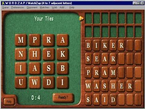 WordZap - Players must form words using the supplied tiles (Windows version).