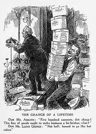 House of Lords - Punch 1911 cartoon shows Asquith and Lloyd George preparing coronets for 500 new peers to threaten takeover of House of Lords
