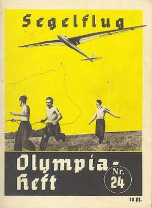 Gliding at the 1936 Summer Olympics - Cover of one of 26 booklets produced for the 1936 Olympics describing each sport. It illustrates a glider being bungee launched