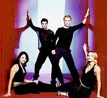 "From left to right: Tracey Elizabeth Packham, Joseph ""Joey"" Murray, Livio Salvi, and Sarah Egglestone in February 2001."