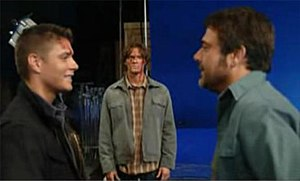 All Hell Breaks Loose (Supernatural) - Morgan's return had to be filmed in advance using blue screen due to his busy schedule. Jared Padalecki, covered in blood in the above picture, had to reshoot his part when script changes had his character uninjured.