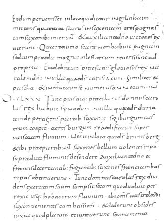 Annales laureshamenses - Page from the Sankt-Paul manuscript of the Annales laureshamenses, containing the year 775 (starting mid-page with Roman numeral DCCLXXV).