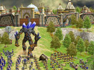 Age of Mythology: The Titans - An Atlantean titan marches towards an Atlantean fortified city.