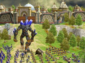 Age of Mythology: The Titans - An Atlantean titan marches towards an Atlantean fortified city.