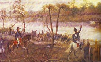 Paraguay campaign - Argentine forces crossing the Paraná River.