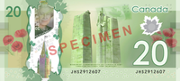 Canadian $20 note specimen - back.png