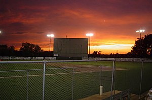 Cascade, Iowa - Cascade's Baseball Field at Sunset