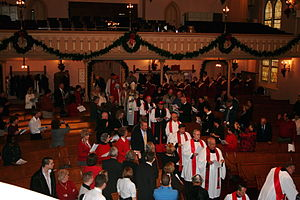 Continuing Anglican movement - Processional of clergy from three Continuing Anglican churches, the Anglican Catholic Church, the Anglican Province of Christ the King and the United Episcopal Church of North America.