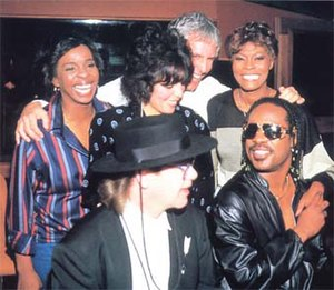 "That's What Friends Are For - Clockwise from left, Gladys Knight, Carole Bayer-Sager, Burt Bacharach, Dionne Warwick, Stevie Wonder, and Elton John, ""That's What Friends Are For"", 1985"