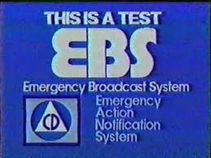 Emergency Broadcast System - Video slide used by KEYC-TV in Mankato, Minnesota to announce an EBS test, c. 1990.