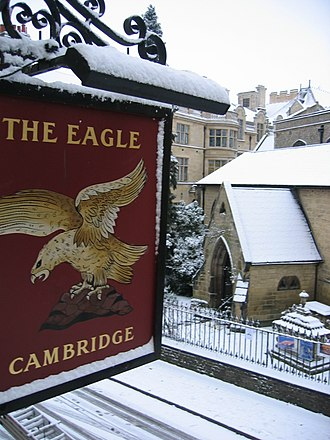 The Eagle, Cambridge - Main signboard of The Eagle, as seen from Corpus Christi College accommodation above