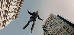 Not Afraid - A still of the music video, which shows Eminem flying through Market Street in Newark, New Jersey