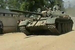 War in Somalia (2006–2009) - Ethiopian army T-55 tank near Mogadishu