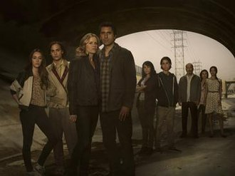 Fear the Walking Dead - The primary characters from the first season include (from left to right): Alicia, Nick, Madison, Travis, Liza, Chris, Daniel, Griselda, and Ofelia