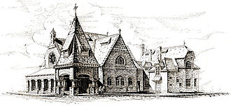 First Unitarian Church of Philadelphia - Third building. Note the tower/porte cochere in this 1886 drawing.