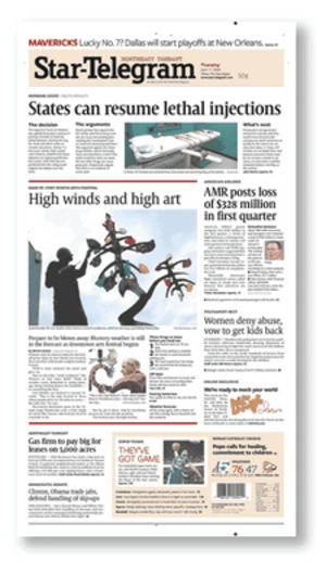 Fort Worth Star-Telegram - Image: Fort Worth Star Telegram front page