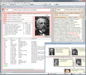 Genbox Family History 3.7.1, showing an individual screen, citations, and part of a descendant chart